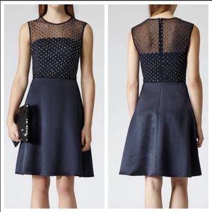 Reiss navy embellished dress